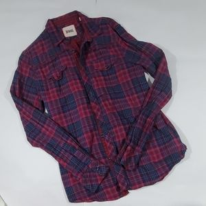 Plaid button down by Vintage Red